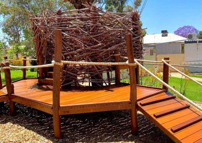 Nature wood playground with nest