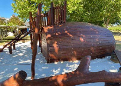 Natur e playground wooden wine barrel