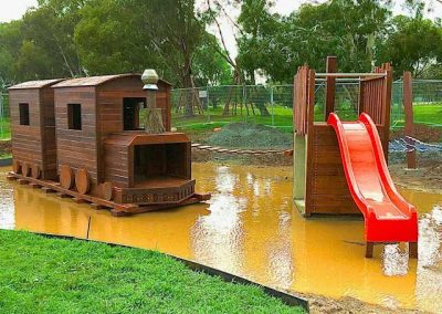 Wooden train nature playground