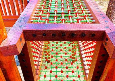 Wooden timber playground wtih rope climbing frame